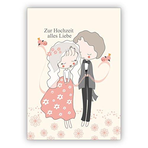 Schattige trouwkaart met bruidspaar: Voor de bruiloft alles liefde • individuele wenskaart met envelop, hoogwaardige kwaliteit