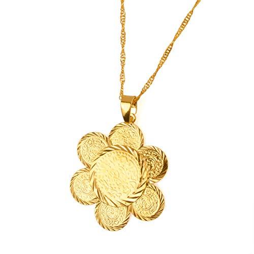 DSHT Collar con colgante de moneda Lady Arab Coin Middle Eastern Items joyas regalo #060806