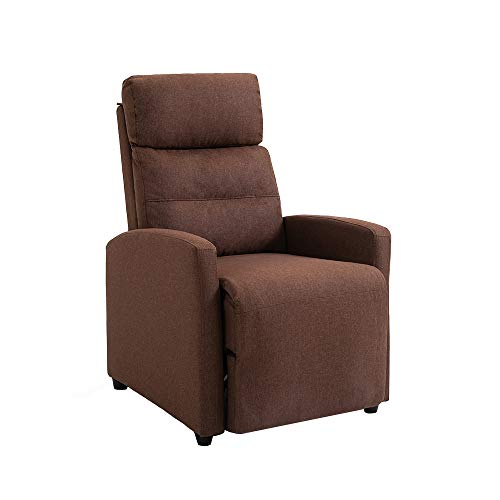 Mingone Relaxsessel mit Liegefunktion Fernsehsessel Sessel Liegefunktion Fernseh-TV-Sessel Kinosessel Lesesessel (Dunkelbraun, 88 x 65 x 100cm)