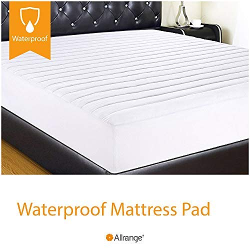 "Allrange Essential Clean&Safe Quilted Fitted Waterproof Mattress Pad, Stretch-up-to 16"", Moisture Management, Snug Fit, Mattress Protector, Full"