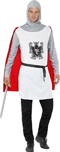 Costume completo da cavaliere medievale, da uomo, per feste di Carnevale o in maschera White Petto 117 cm- 122 cm
