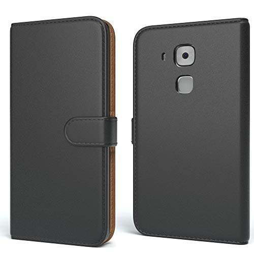 EAZY CASE Tasche kompatibel mit Huawei Nova Plus Schutzhülle mit Standfunktion Klapphülle im Bookstyle, Handytasche Handyhülle Flip Cover mit Magnetverschluss & Kartenfach, Kunstleder, Schwarz