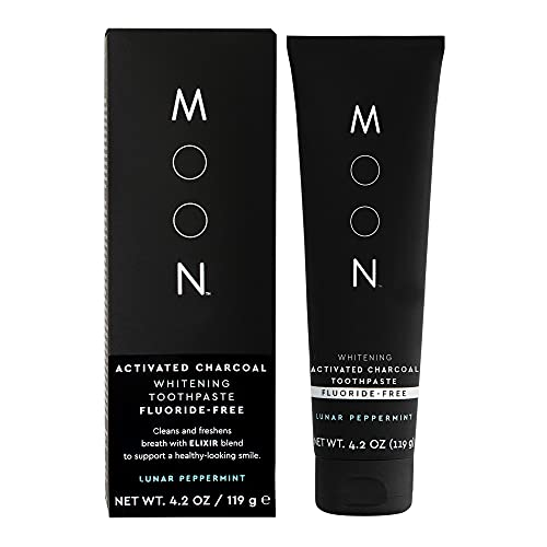 MOON Charcoal Whitening Toothpaste | Elixir X with Coconut for Teeth - Fluoride Free, Lunar Peppermint - 4.2oz