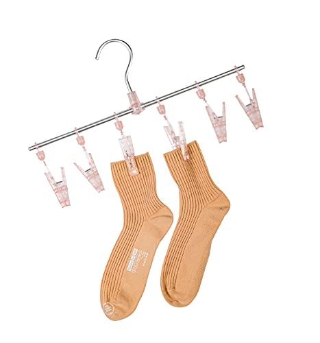 FALEJU High-Strength Aluminum Alloy Underwear and Socks Drying Rack 6 Clip Set (Pink)