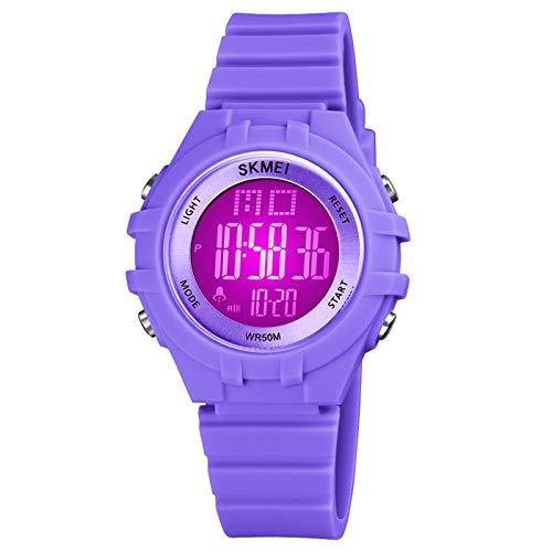 Moniel Kids Relógio Digital para Meninos Meninas Retroiluminação LED de 7 Cores 5ATM À Prova D 'Água Alunos Relógios Esportivos Hora Semana Data Display Cronômetro Despertador Moda Pulseira Infantil
