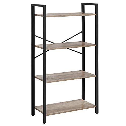 VASAGLE Bücherregal mit 4 Ebenen, Aufbewahrungsregal, Stahlgestell, Höhe 120 cm, für Wohnzimmer, Büro, Arbeitszimmer und Flur, Industrie-Design, Greige-schwarz LLS060B02