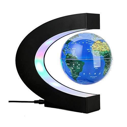 """HR 3\"""" C Form Levitation Schwimmende Kugel Farbige LED Magnetschwebebahn Weltkugel Karte für Globe Weltkarte zum Lernen Geschenk Home Office Classroom Desk Dekoration"""