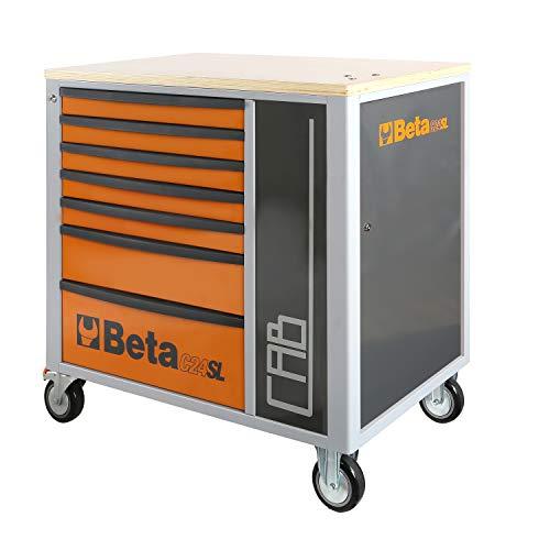 Beta C24SL-CAB Werkzeugwagen mit 7 Schubladen und Ablageschrank, leerer Werkstattwagen auf Rollen (mit Multiplex-Arbeitsplatte, verschließbarem Ablageschrank und Zentralverriegelung), Orange/Schwarz