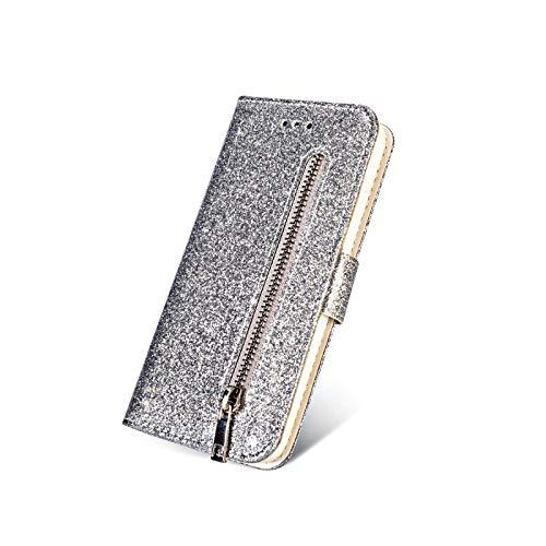 Phone Case - Carcasa con tapa para Huawei P40 P30 P20 Lite Pro Y6 / Y7 2019 P Smsrt 2019 Mate 20 Lite-Silver-Huawei Mate 20