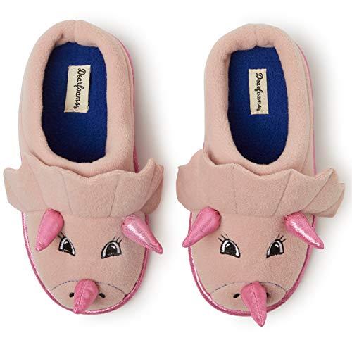Dearfoams unisex child Clog Slipper, Pink Dinosaur, 11-12 Toddler US