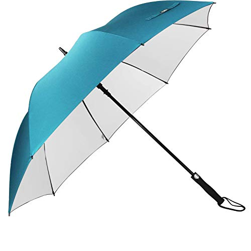 G4Free 62 Inch Windproof UV Protection Golf Umbrella Extra Large Silver Coated Automatic Open Silver Coated Stick Umbrellas (Sky blue)