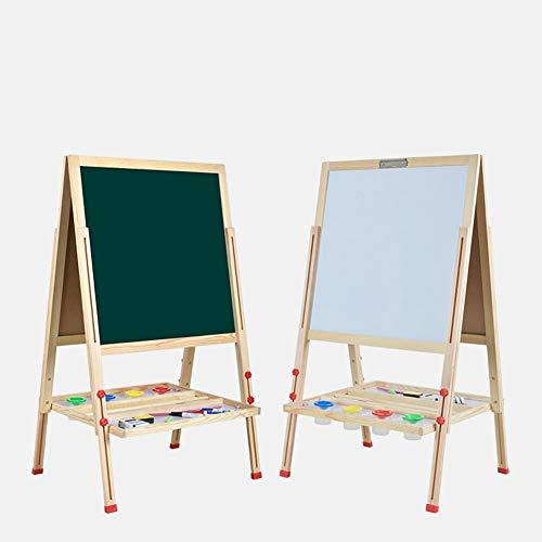 Wooden Kids Schildersezel Dubbelzijdig magnetisch tekenbord Dark greenboard & Whiteboard Ezel met Tekenen met krijt, zes magneten, drie water pennen 411 (Color : B)