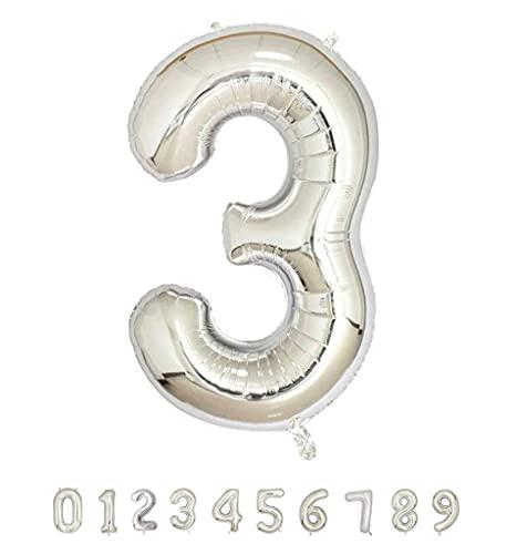 Globos de Cumpleaños Número 3 Plateado - 100cm - Globo de cumpleaños - Grandes para fiestas cumpleaños aniversario, comunión boda plata 3 años gigante