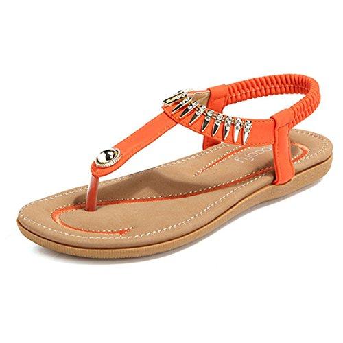 Socofy Damen Sommer Sandalen, Flach Mädchen Sommerschuhe Zehentrenner Clip Toe Hausschuhe Mode Böhmischer Flip Flops Slingback Strand Schuhe-Schwarz Blau MEHRWEG