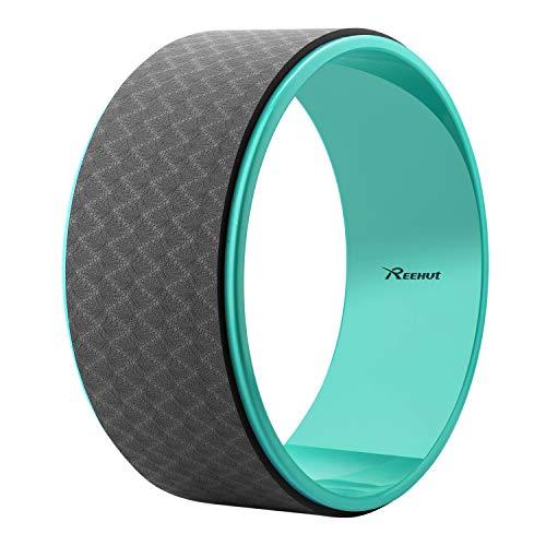 REEHUT Ruota Premium per Yoga 32cm x 12.7cm, per Lo Stretching e per Migliorare Le Posizioni ad Arco Durante Gli Esercizi - Nero