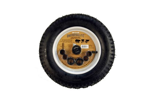 Marathon 14.5' Universal Replacement Wheelbarrow Wheel with Adapter Kit, Black