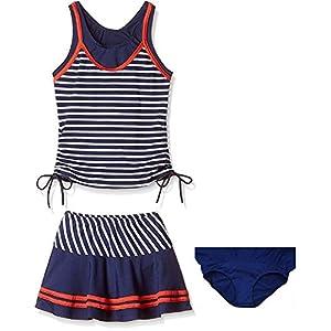 ヤング(Young) 水着 子供 女の子 (8-14歳) 子供水着 2点セット かわいい スイミング ウェア ボーダー スカート ストライプ セパレート キッズ タンキニ 女児 ジュニア (10-14歳)