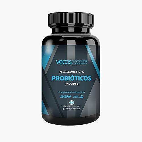 Probióticos liofilizados Vecos de alta resistencia (75 billones UFC) – 15 cepas bacterianas para el cuidado de la flora intestinal – 60 cápsulas vegetales gastrorresistentes – 100% producto vegano