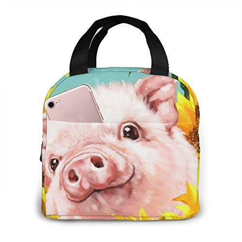Baby Pig With Sunflower Insulated Lunch Bag For Women Men Cooler Tote Box For Travel Work