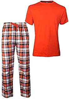 G4rce Men Two Piece Pajamas Set / / Cotton Round Neck Short Sleeves T-Shirts And Pattern Check Trouser / / Nightwear // Ni...