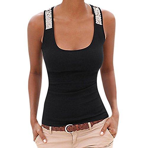 Fossen - Mujer Camiseta de Tirantes Verano 2019 - Originales Casual Lentejuelas Blusas y Camisas Sin Mangas - Chaleco Tops para Deporte Fitness - Tallas Grandes S-2XL