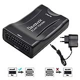 Ozvavzk Scart HDMI Convertidor,Euroconector a HDMI Adaptador HD Stereo Vídeo Compuesta Reproductor para HDTV STB PS3 DVD BLU-Ray etc.