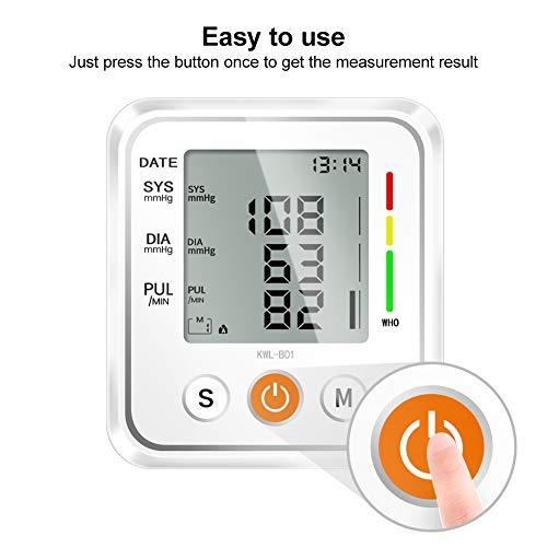 41qIb+SRYEL - NWOUIIAY Tensiómetro de Brazo Eléctrico Digital con Monitoreo de Arritmia Memorias de 2 Usuarios(2 * 99) Gran Pantalla LCD Brazalete 22-42cm Blanco
