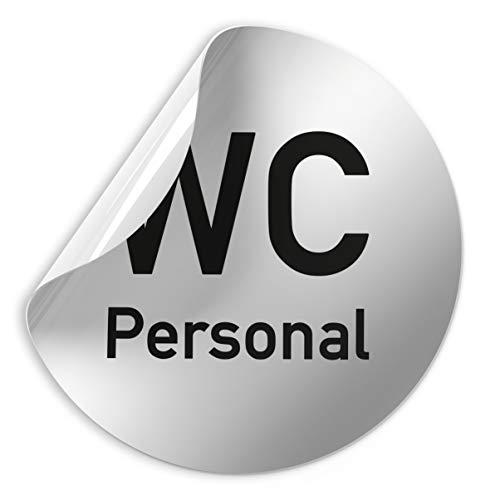 Folienschild Schild - Personal + WC - D = 100 mm PVC Silber - Robuste kratzfeste Folie - UV beständig - Perfekt für Glastüren und alle glatten Flächen