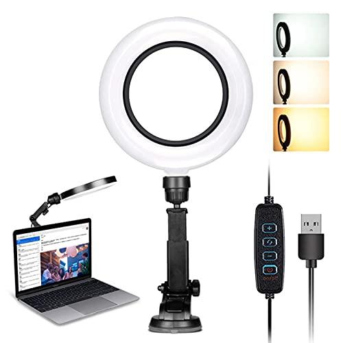 6 pollici LED anello luce regolabile braccio stand dimmerabile led anello luce con ventosa per fotocamera, video, trucco, selfi