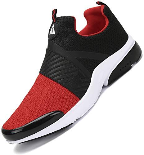 Mishansha Turnschuhe Herren Laufschuhe rutschfeste Atmungsaktiv Gym Sportschuhe Outdoor Leichte Walkingschuhe Straßenlaufschuhe Rot 45 EU