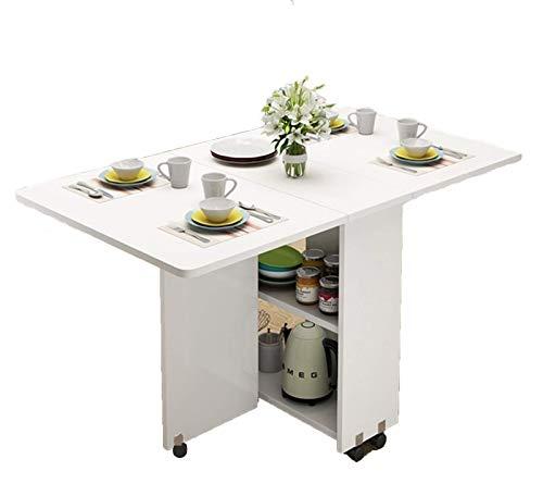 AOIWE Mesa de comedor de madera plegable multifuncional para el hogar, muebles sencillos y modernos, mesa de almacenamiento extraíble (color: blanco, tamaño: 140 cm)