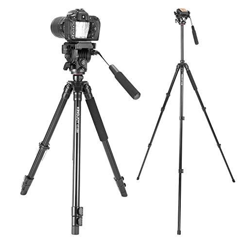 Kingjoy Videostativ Filmstativ VT-12 aus Aluminium mit Videokopf/Fluidneiger – 156cm - 1,8kg, Packmaß 64cm, Tragkraft 10kg