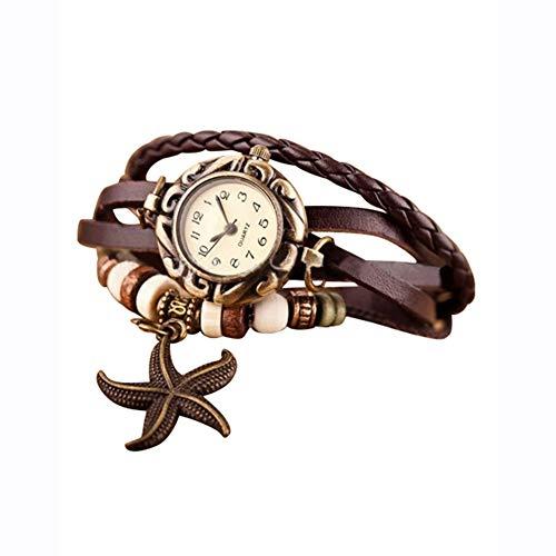 Demarkt Retro Vintage Damen Frauen Armbanduhr Armreif Uhr Seestern Design Anhänger Spangenuhr Quarzuhren (Braun)