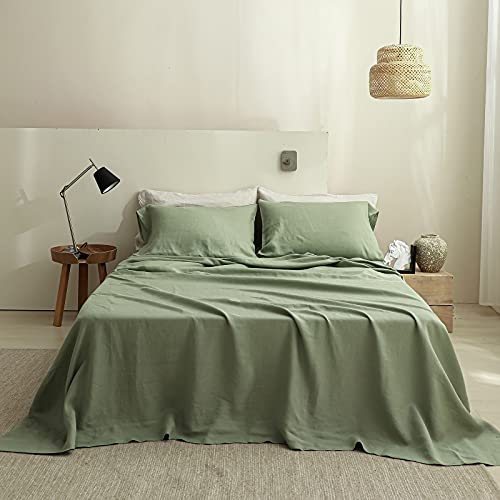Simple&Opulence 100% Linen Sheet Set Solid Color-4 Pcs Washed French Linen Bed Sheets(1 Flat Sheet,1 Fitted Sheet,2 Pillowcases)-Breathable Bedding Set (Sage Green, King)
