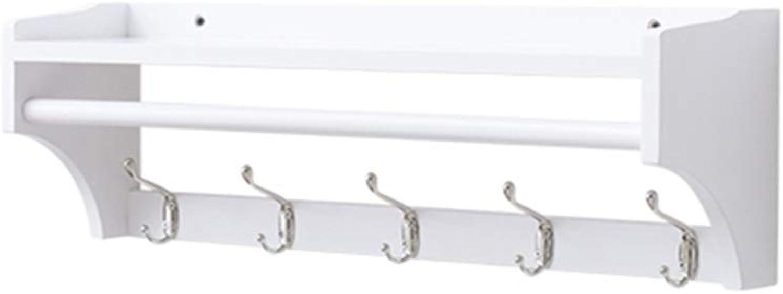 QFFL Coat Rack, Hanger Coat Hook with Shelf and Metal Hook for Corridor Bedroom Bathroom Living Room - 3 colors 3 Size Optional Wall Hanger (color   White, Size   5 Hooks)