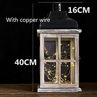 ANH19 Candle Holders- Wooden Retro Candlestick Decor Glass Lantern Tealight Candle Holders Table Centerpiece Bougeoir Et Photophore Glass Lantern BZT6