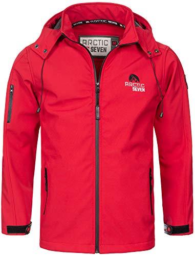 Arctic Seven Herren Designer Softshell Funktions Outdoor Regen Jacke Sport AS087 [AS-087-Rot-Gr.3XL]