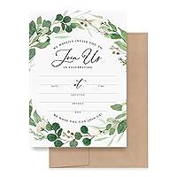 Bliss Collections 封筒付き招待状 あらゆる機会に ユーカリグリーンの招待状 結婚式 ブライダルシャワー 婚約 誕生日パーティー 特別なイベントに最適 5×7のカード25枚パック