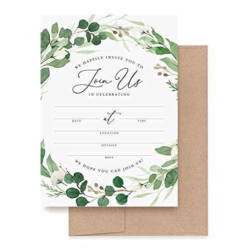 Bliss Collections Invitations with Envelopes for All Occasions, Eucalyptus Greenery Invites Perfect for: Weddings, Bridal Showers, Engagement, Birthday Party or Special Event, Pack of 25 5x7 Cards