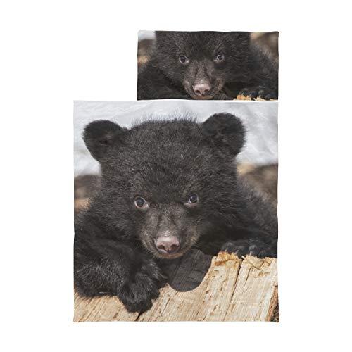 Kinder Camping Schlafsack American Black Bear Cub Klettern Spielen Kleinkind Nap Mat Boy Weiche Mikrofaser Leichte Reisetasche für Schlafsack Perfekt für Vorschule, Kindertagesstätte und Übernachtung