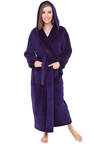 Alexander Del Rossa Women's Plush Fleece Robe with Hood, Long Warm Bathrobe, Large-XL Purple with Jacquard (A0263PRJXL)