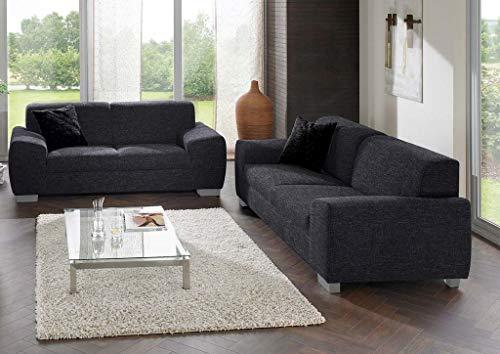 Florenz Set 2-Sitzer 3-Sitzer Polstergarnitur Couchgarnitur Sofa Couch Anthrazit (Pfeffer & Salz), Füße:Echtholz Wenge