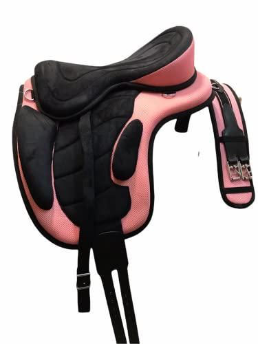 Little Pony Baumloser Sattel Cloudrider 15 Zoll - Schwarz Rosa - inkl. Steigbügelriemen und Sattelgurt - Ultra leicht - Ponysattel- Kaltblutsattel - Wanderreitsattel