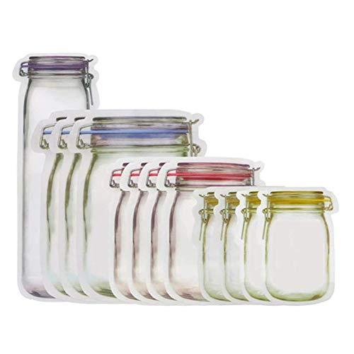 kula Mason Jar Zipper Bags,10Ppcs,12pcs,20pcs Reusable Zip Lock Snack Bags Food Storage Reusable Airtight Seal Food Storage Bags, for Travel Camping(20pcs)