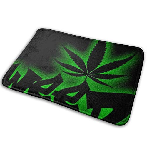 BLSYP Felpudo Weed Love Welcome Entrance Door Mats for Indoor Outdoor Entry Garage Patio High Traffic Areas Shoe Rugs 24 x 16 Inch