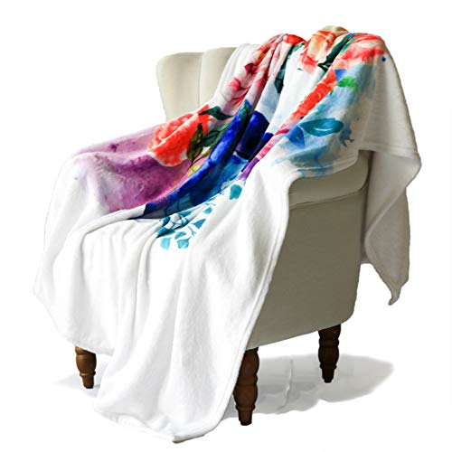 SimbaDeco Halloween Decorative Sofa Bedding Throw Blanket for Bedroom Colorful Watercolor Cute Skeleton with Flowers Surrounded Wreath Blankets Soft Warm Flannel Plush Sherpa Fleece 50x70 Inch White