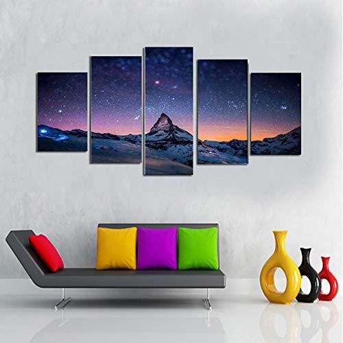 5 canvas muur kunstwerk schilderij, creatieve sterrenhemel en zon op sneeuw berg foto print op canvas, woonkamer decoratie,With frame,30x50/70/80cm