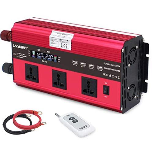 SCJ Inversor de energía de Onda sinusoidal Pura de 5000 W (Pico) Convertidor de CC 12 V / 24 V a CA 230 V / 240 V con Control Remoto inalámbrico y 3 Salidas de CA y 4 USB, 12 V