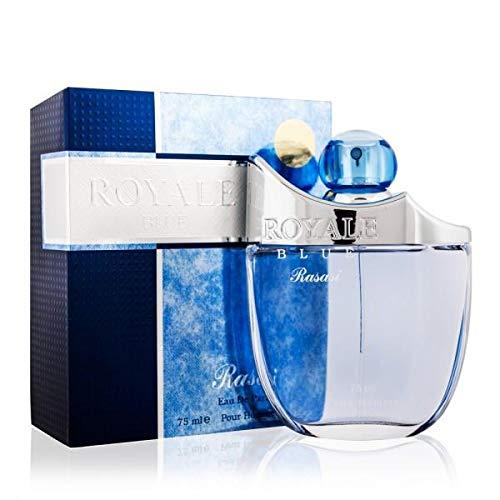Royale Blue for Men EDP - Eau De Parfum 75 ML (2.5 oz) | Attractive Pour Homme Spray | Mellow Blend of Cucumber, Melon with Strong Masculine Woody Notes | Signature Dubai Perfumery | by RASASI