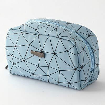 YIBING Sac cosmétique pour Femme Sacs de Maquillage géométriques Étuis de Toilette Portables étanches, carré Bleu